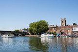 Skyline Of Henley On Thames In Oxfordshire UK With River Thames In Foreground