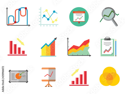 Graph Icon Set Magnifier And Graph Growing Bar Chart Declining Bar