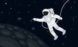 Astronaut in outer space concept vector illustration in flat style - 210969256