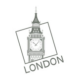 Set for design on London. Great Britain. Big Ben Tower. Vector graphics to design.