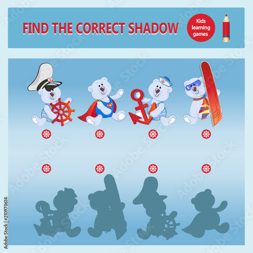 Funny Cartoon Bear Cubs Find The Desired Shadow A Learning Game