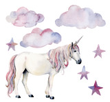 Watercolor set with white unicorn and decor. Hand painted magic horse, clouds and stars isolated on white background. Fairytale character illustration design, fabric, card, print or background.