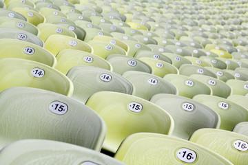 Grüne Sitzplätze im Münchner Olympia Stadion