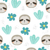 Seamless pattern with sweet sloth and floral elements. Vector hand drawn illustration. - 210984052