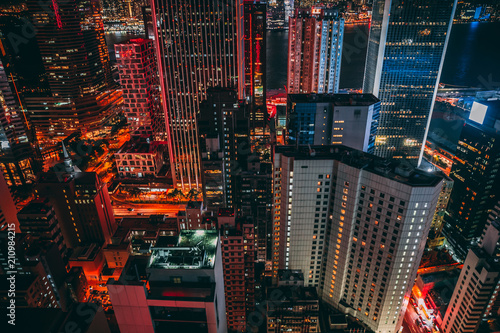 Modern skyscraper buildings on Hong Kong skyline at night