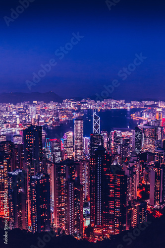 Hong Kong skyline at night from Victoria Peak with copy space in sky