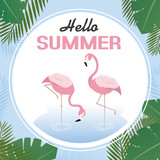tropical card to welcome the summer. Flamingos with palm leaves