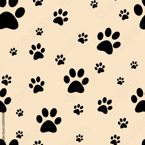 obraz PCV Dog paw print seamless. Traces of Cat Textile Pattern. Vector seamless. Traces of Cat Textile Pattern. Vector seamless.