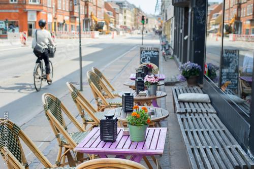 Street cafe restaurant Copenhagen Denmark