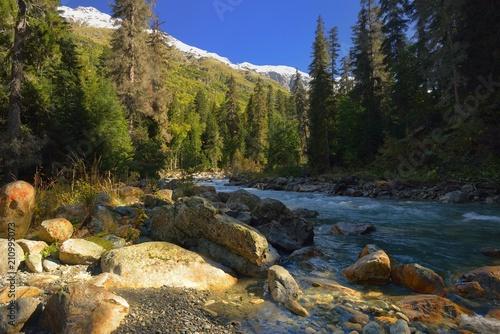 Aluminium Bergrivier River in mountains