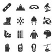 Snowboarding and skiing, monochrome icons set. ride a snowboard and skiing, simple symbols collection