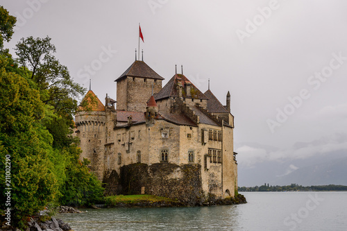 Chillon Castle, an island castle on the Lake Geneva, south of Veytaux , the canton of Vaud, Switzerland