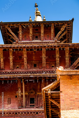 Aluminium Rood paars Buddha temple in Kathmandu, the capital city of the Federal Democratic Republic of Nepal, Asia