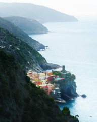 Fantastic landscape of Corniglia city with costal rocks on a foreground. Cinque Terre National Park, Liguria, Italy, Europe © ivan kmit