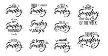 Hello Happy Sunday Lettering Sticker