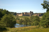 Alnwick castle and river Aln in Northumberland, England - 211013691