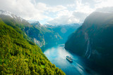 Breathtaking view of Sunnylvsfjorden fjord and famous Seven Sisters waterfalls, near Geiranger village in western Norway. - 211015837