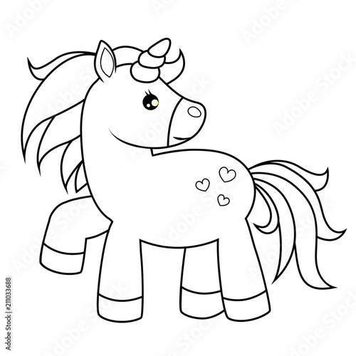 Cute cartoon unicorn. Black and white vector illustration for coloring book