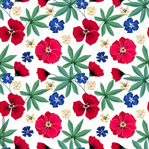Seamless bright floral pattern on white background. - 211035214