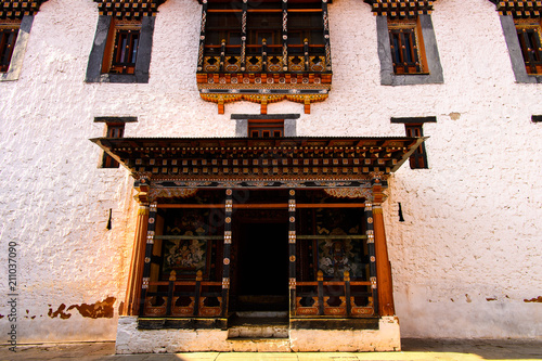 Aluminium Zwavel geel Temple in Himalayan Buddhist sacred site of Paro Valley, Bhutan