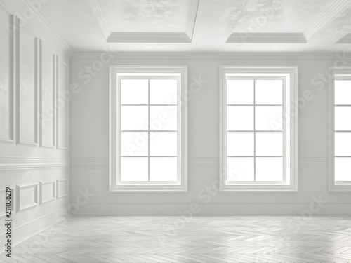 Interior empty room 3D rendering - 211038219