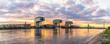 Leinwanddruck Bild - Skyline Köln und Kranhäuser Panorama