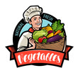 Happy cook is holding a wicker basket with vegetables. Cartoon vector illustration