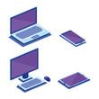 digital technology isometrics icons vector illustration design