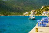 Open cafe outdoor restaurant in Greece on sea shore - 211062855