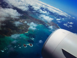 Beautiful view from airplane on approach to Oahu, Hawaii
