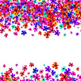 Vector seamless border with hand drawing flowers, multicolor bright artistic botanical illustration, isolated floral elements, hand drawn repeatable illustration. - 211073257