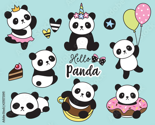 Fototapeta Vector illustration of cute baby panda set.