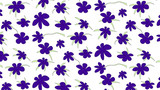 Seamless floral pattern - ultra violet colored flowers and styled green leaves. Natural background. No gradiient, no transparency. - 211077287