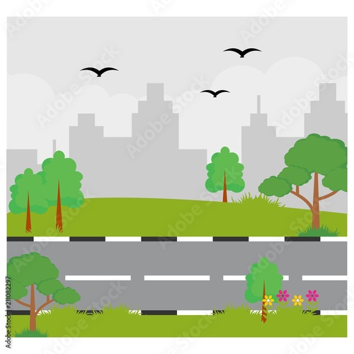 Fotobehang Boerderij highroad in the middle of meadow with city building silhouette scenery landscape background