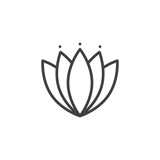Oriental lotus outline icon. linear style sign for mobile concept and web design. Japanese lily water flower simple line vector icon. Symbol, logo illustration. Pixel perfect vector graphics - 211086002