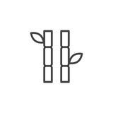 Bamboo stems with leaves outline icon. linear style sign for mobile concept and web design. simple line vector icon. Symbol, logo illustration. Pixel perfect vector graphics