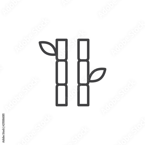 Fototapeta Bamboo stems with leaves outline icon. linear style sign for mobile concept and web design. simple line vector icon. Symbol, logo illustration. Pixel perfect vector graphics