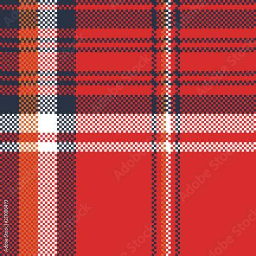 Red plaid fabric texture pixel seamless pattern