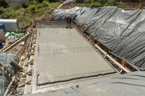 construction of the concrete foundation of a house
