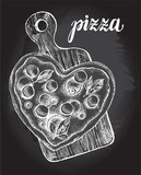 Heart-shaped Pizza with mozzarella,  basil and olives on a wooden cutting board. Italian cuisine. Ink hand drawn Vector illustration. Top view. Food element for menu design. - 211093667