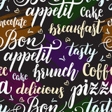 Decorative seamless pattern with brush calligraphy style lettering. Food concept. Design template for cafes, restaurants, menu. Vector illustration. - 211093817
