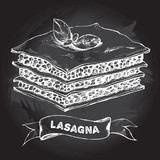 Lasagna with basil leaves. Dish of Italian cuisine. Ink hand drawn Vector illustration. Top view. Food element for menu design. - 211094054