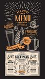Beer drink menu for restaurant and cafe. Design template with hand-drawn graphic illustrations. Vector beverage flyer for bar on blackboard background. - 211095071