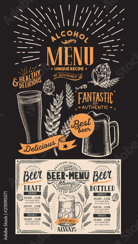 Beer drink menu for restaurant and cafe. Design template with hand-drawn graphic illustrations. Vector beverage flyer for bar on blackboard background.