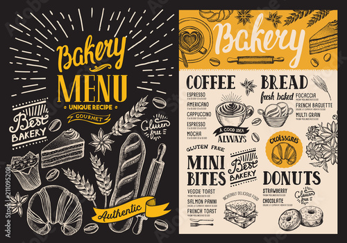 Bakery dessert menu for restaurant on blackboard background. Design template with food hand-drawn graphic illustrations. Vector food flyer for bar and cafe. - 211095208
