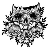 Vector illustration with a human skull and flowers. Gothic brutal skull. For print t-shirts or book coloring. - 211095800