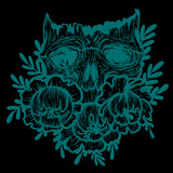 Vector illustration with a human skull and flowers. Gothic brutal skull. For print t-shirts or book coloring. - 211095823