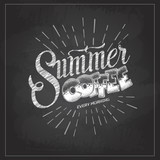 Chalk drawing typography coffee menu design. Lettering poster Summer coffee every morning - 211099477