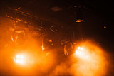 Red strobe lights with strong beams in smoke - 211101845