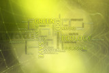 Conceptual eco green word cloud on blurry cyberspace bokeh background. - 211103640